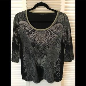 Tops - Black mid sleeve top with front embellishments